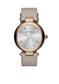 Marc Jacobs Women's Dotty Gray Leather Three Hand Watch
