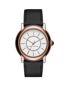Marc Jacobs Women's Courtney Rose Gold-Tone and Black Leather Three-Hand Watch