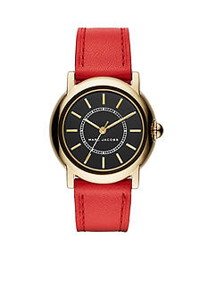 Marc Jacobs Women's Courtney Three-Hand Red Leather Strap Watch