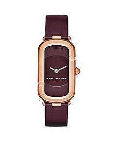 Marc Jacobs Women's Monogram Rose Gold-Tone and Oxblood Leather Watch