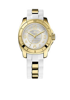 Tommy Hilfiger Women's Casual Sport Gold Tone and White Silicone Watch