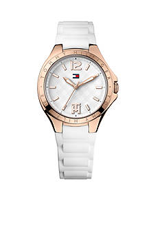 Tommy Hilfiger Women's Casual Sport Rose Gold and White Silicone Strap Watch
