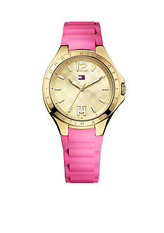 Tommy Hilfiger Women's Casual Sport Gold Tone and Pink Silicon Watch