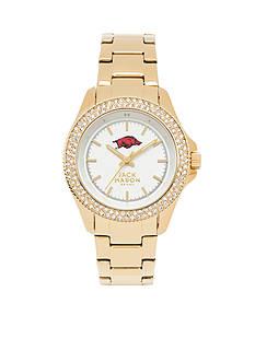 Jack Mason Women's Arkansas Gold Tone Glitz Sport Bracelet Watch