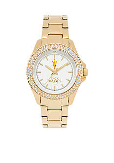 Jack Mason Women's Arizona State Gold Tone Glitz Sport Bracelet Watch