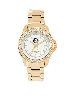 Jack Mason Women's Florida State Gold Tone Glitz Sport Bracelet Watch