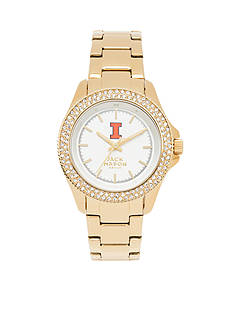 Jack Mason Women's Illinois Gold Tone Glitz Sport Bracelet Watch