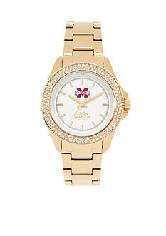 Jack Mason Women's Mississippi State Gold Tone Glitz Sport Bracelet Watch