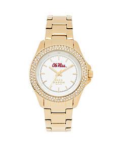 Jack Mason Women's Ole Miss Gold Tone Glitz Sport Bracelet Watch