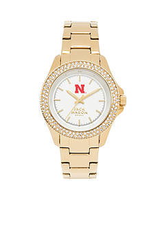 Jack Mason Women's Nebraska Gold Tone Glitz Sport Bracelet Watch