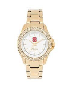 Jack Mason Women's NC State Gold Tone Glitz Sport Bracelet Watch