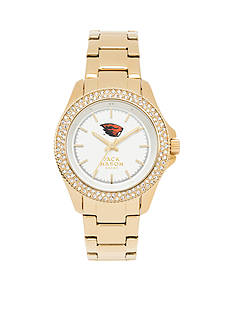 Jack Mason Women's Oregon State Gold Tone Glitz Sport Bracelet Watch