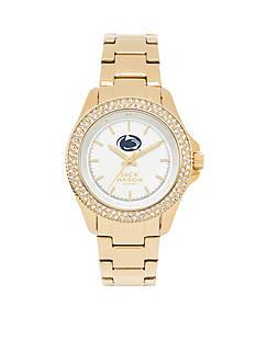 Jack Mason Women's Penn State Gold Tone Glitz Sport Bracelet Watch