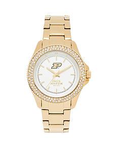 Jack Mason Women's Purdue Gold Tone Glitz Sport Bracelet Watch
