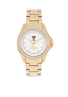 Jack Mason Women's Texas Tech Gold Tone Glitz Sport Bracelet Watch