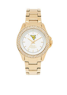 Jack Mason Women's West Virginia Gold Tone Glitz Sport Bracelet Watch