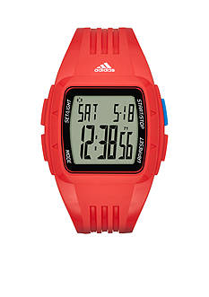 adidas Men's Duramo Digital Red Silicone Watch