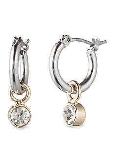 Lonna & Lilly Two-Tone Hoop and Crystal Drop Earrings