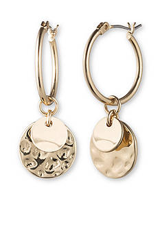 Lonna & Lilly Gold-Tone Hoop and Disc Drop Earrings
