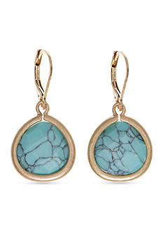 Lonna & Lilly Gold-Tone Turquoise Teardrop Earrings