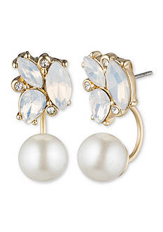 Lonna & Lilly Gold-Tone Crystal Pearl Front and Back Earrings