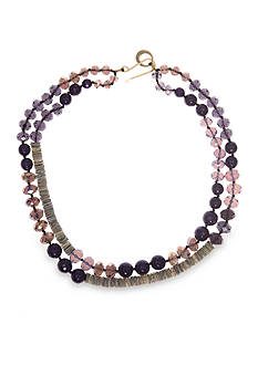 Lonna & Lilly Gold-Tone Double Row Mixed Bead Collar Necklace