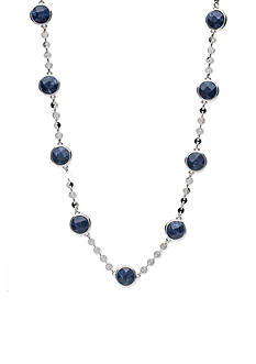 Lonna & Lilly Silver-Tone Blue Stone Collar Necklace