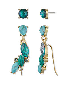 Lonna & Lilly Gold-Tone Turquoise Ear Crawler Earring Set