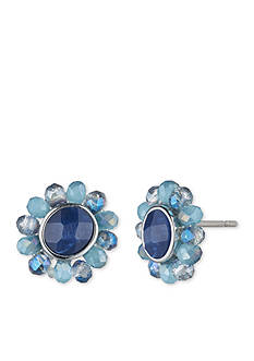 Lonna & Lilly Gold-Tone Blue Drusy Button Earrings