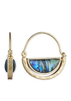 Lonna & Lilly Gold-Tone Abalone Hoop Earrings