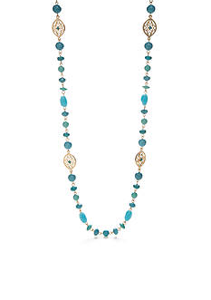 Chaps Gold-Tone Turquoise Illusion Necklace