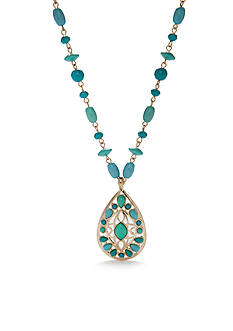 Chaps Gold-Tone Turquoise Pendant Necklace