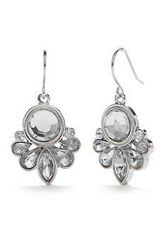 Chaps Silver-Tone Crystal Mini Chandelier Earrings