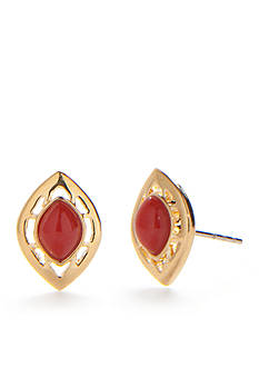 Chaps Gold-Tone Coral Stud Earrings