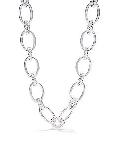 Chaps Silver-Tone Smooth Link Collar Necklace