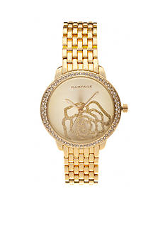 Rampage Women's Gold-Tone Sparkle Rose Watch