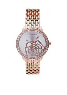 Rampage Women's Rose Gold-Tone Sparkle Rose Watch