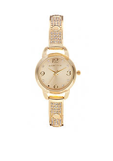 Rampage Women's Gold-Tone Pave Bangle Watch