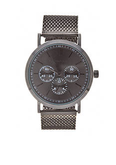 Geoffrey Beene Men's Gunmetal Mesh Strap Watch