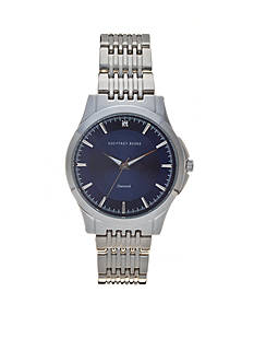 Geoffrey Beene Men's Silver-Tone Diamond Dial Watch