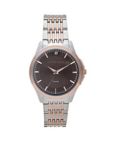 Geoffrey Beene Men's Two-Tone Diamond Dial Watch