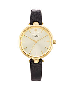 kate spade new york Women's Gold-Tone Stainless Steel Black Leather Three-Hand Holland Watch