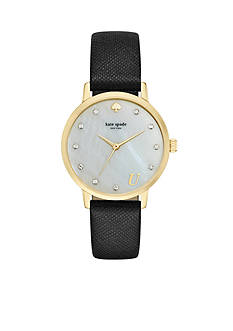 kate spade new york Women's Monogram Black Leather 3-Hand Watch