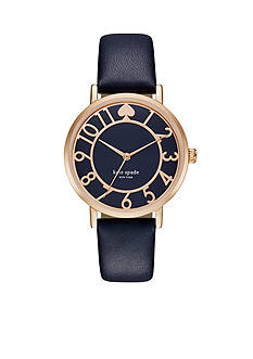 kate spade new york Women's Metro Blue Leather Three Hand Watch
