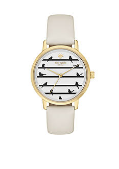 kate spade new york Women's Metro Bird On Wire White Leather Strap Three-Hand Watch