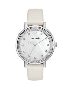 kate spade new york Monterey White Leather Strap Three-Hand Watch