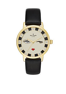 kate spade new york Metro Black Leather Strap Three-Hand Watch