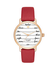 kate spade new york Metro Chalkboard Red Leather Strap Three-Hand Watch