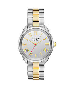 kate spade new york Crosstown Two-Tone Stainless Steel Bracelet Three-Hand Watch