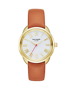 kate spade new york Crosstown Brown Leather Strap Three-Hand Watch